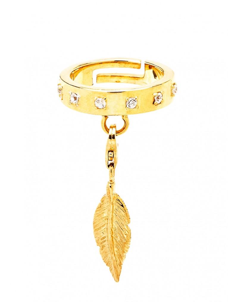 anello con charm piuma in argento 925 Thais Bernardes Gioielli