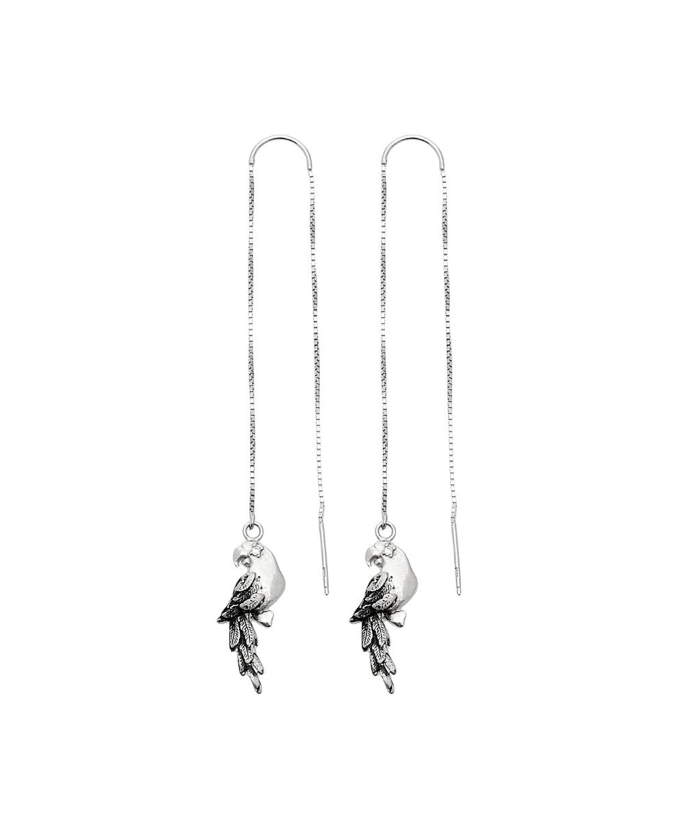 orecchini lunghi con pappagalli in argento 925. Thais Bernardes Gioielli