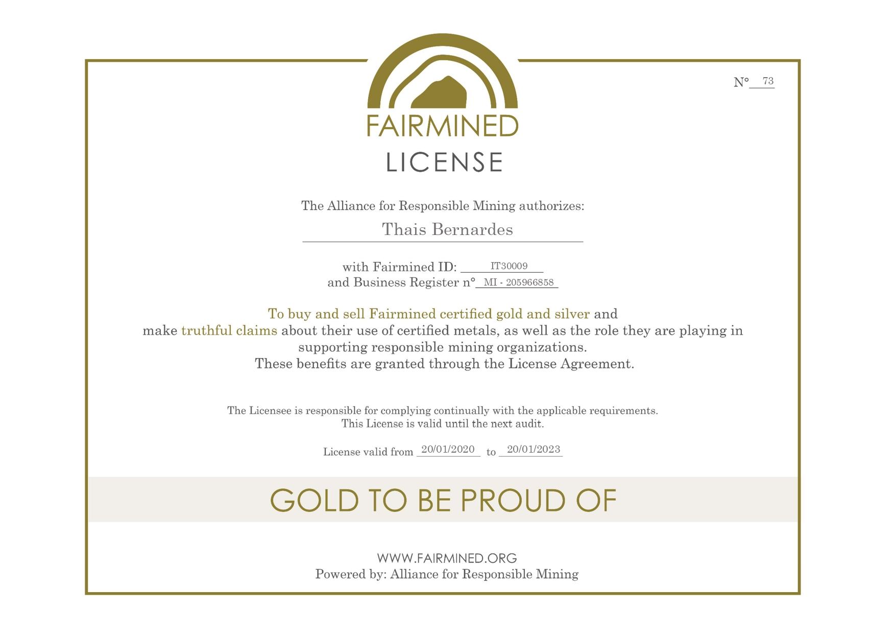 Fairmined License - Thais Bernardes