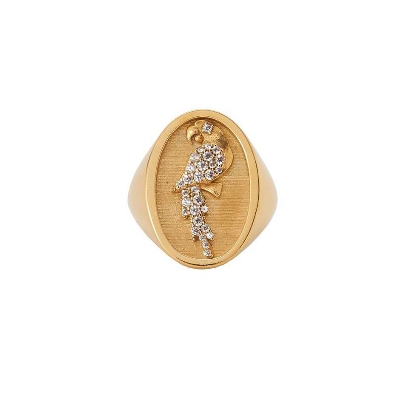anello chevalier in argento 925 placcato oro Thais Bernardes Gioielli