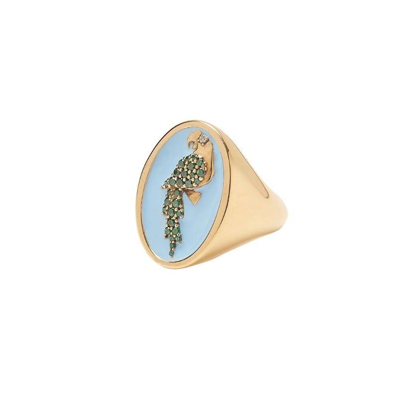anello chevalier pappagallo in argento 925 con smalto azzurro