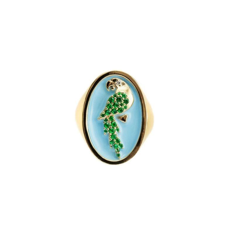 anello chevalier in argento 925 smalto azzurro Thais Bernardes Gioielli