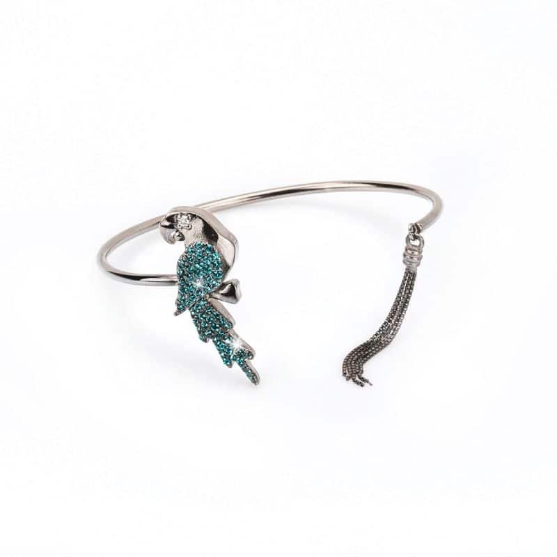 bracciale pappagallo in argento 925 con pietre blu Thais Bernardes gioielli
