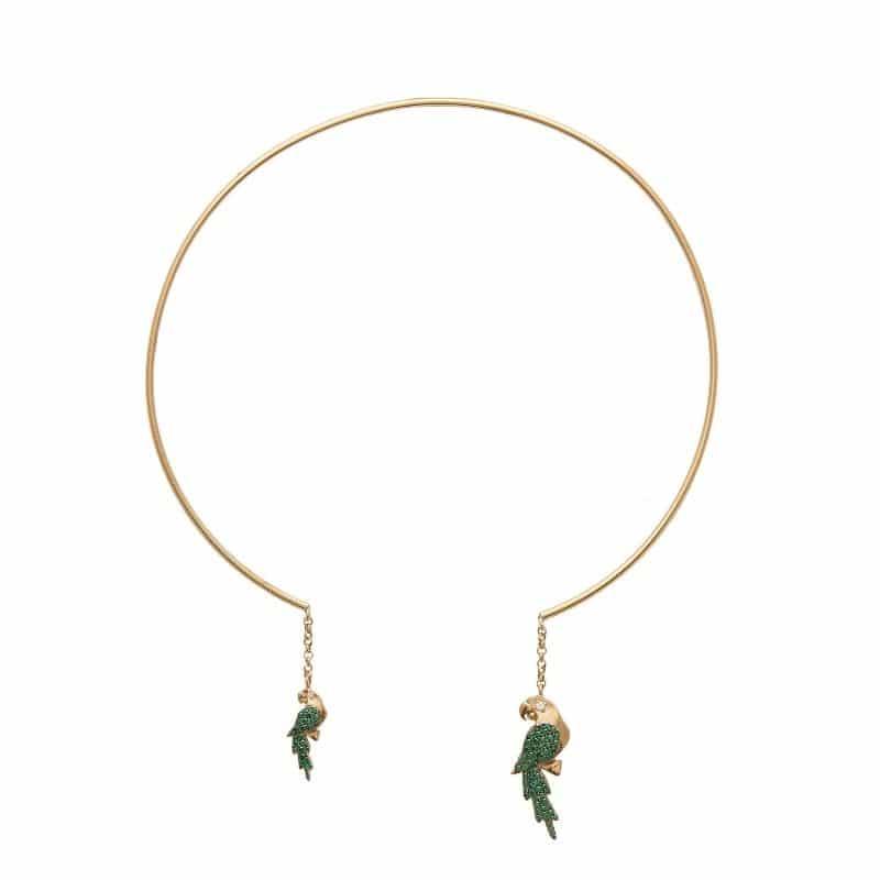 collana choker pappagallo in argento 925 placcato oro Thais Bernardes Gioielli