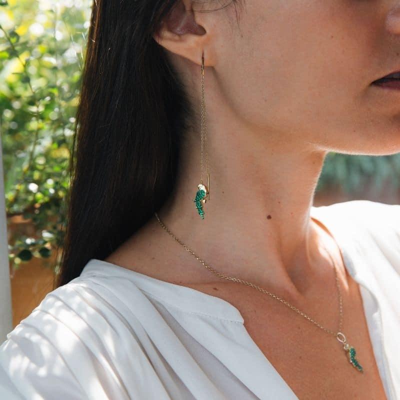 orecchini lunghi con pappagalli in argento 925 placcato oro e pave d pietre