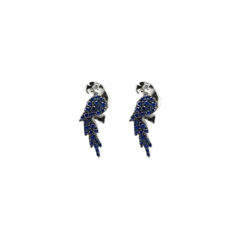 orecchini pappagallo a lobo in argento 925 con pietre blu Thais Bernardes Gioielli