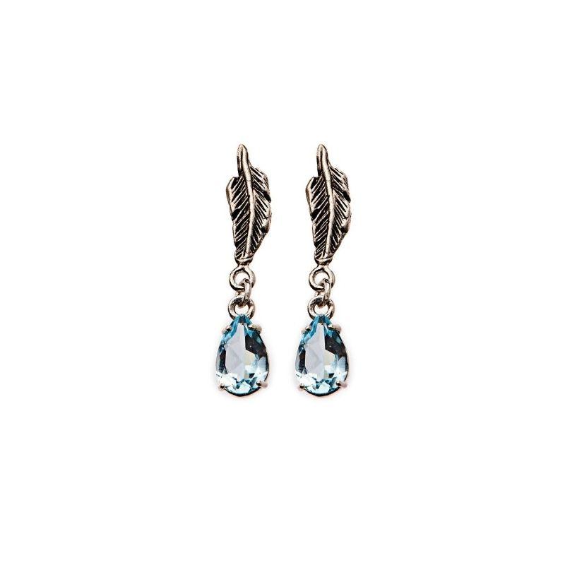 orecchini piuma e pietre topazio azzurro
