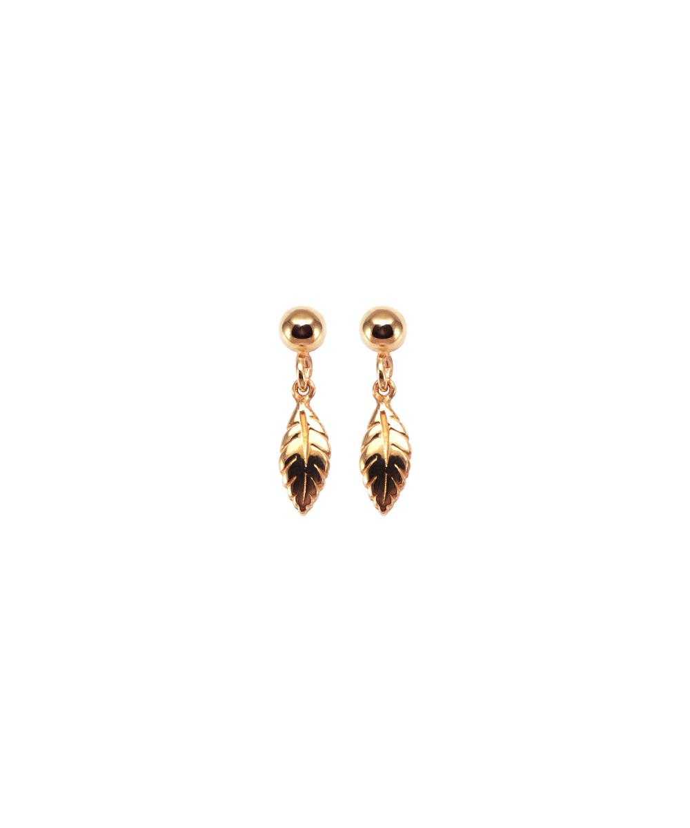 orecchini mini piume pendenti in argento 925 placcato oro Thais Bernardes Gioielli