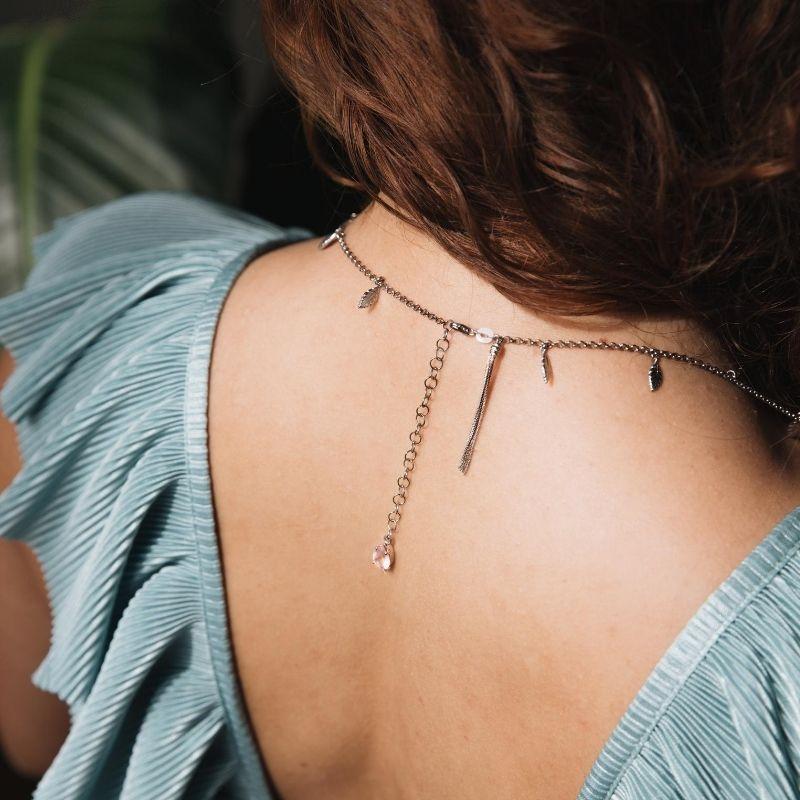 collana lunga con mini piume in argento 925. Thais Bernardes Gioielli