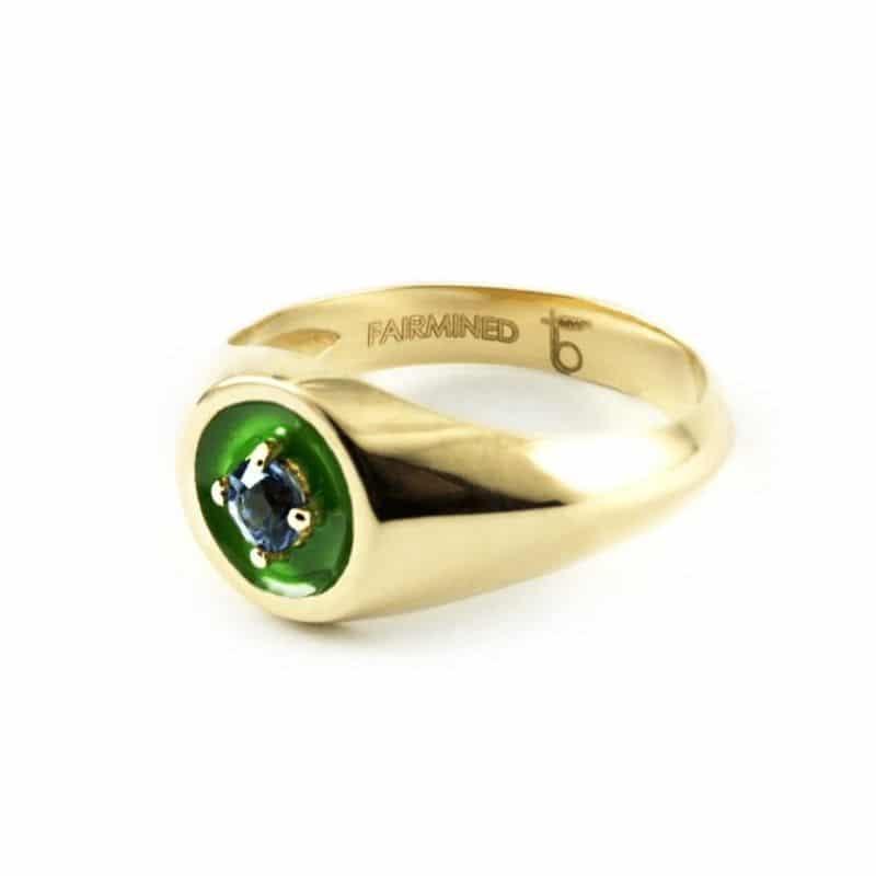 anello mini chevalier in oro 18K sostenibile con pietre preziose Thais Bernardes Gioielli