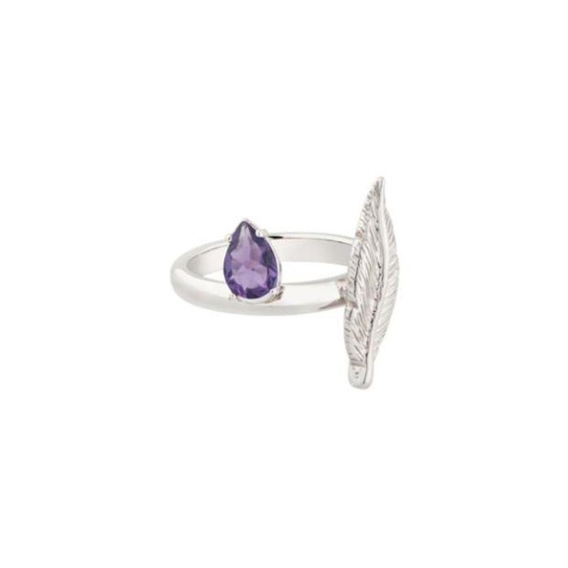 anello in argento 925 con piuma e pietra ametista Thais Bernardes Gioielli