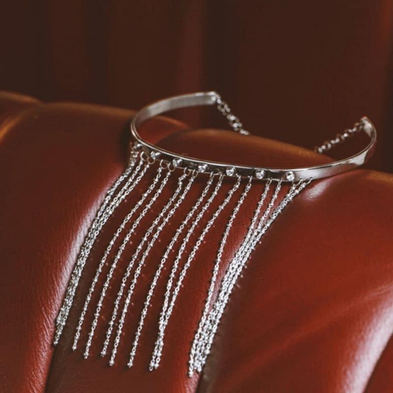 Sedução choker necklace with fringes