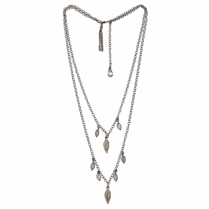 collana doppia con piume in argento 925 Thais Bernardes gioielli