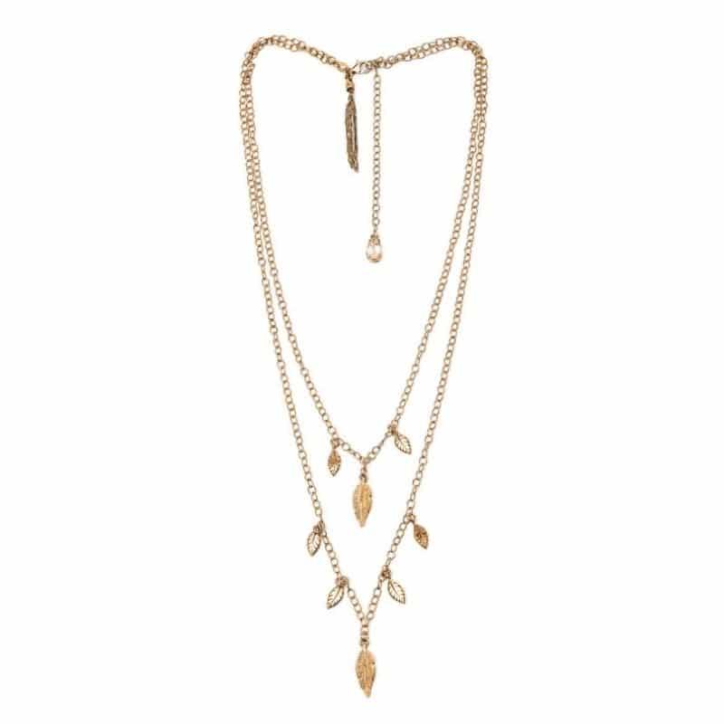 collana doppia con piume in argento 925 placcato oro Thais Bernardes Gioielli