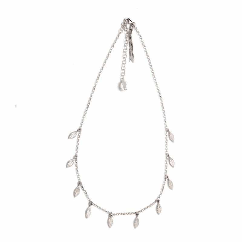 collana girocollo con mini piume in argento 925