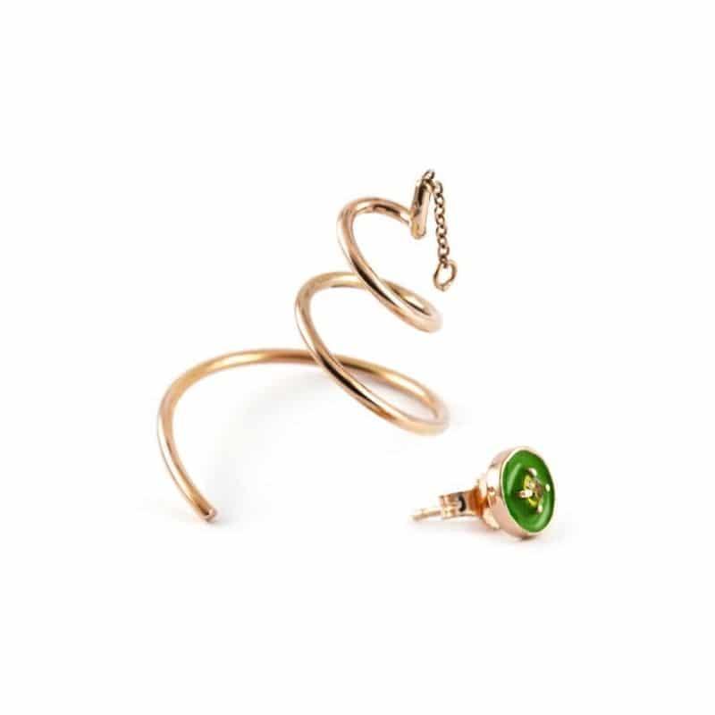 Asymmetrical serpentinas earrings with sapphire Thais Bernardes Jewelry