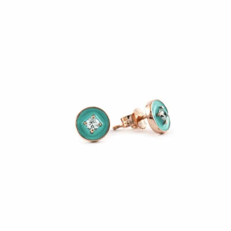 orecchini coriandoli in oro con zirconi Thais Bernardes Gioielli