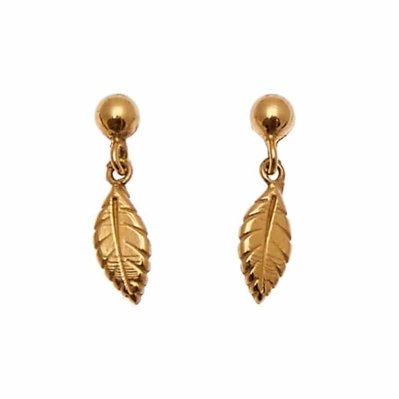 orecchini mini piume pendenti in argento 925 placcato oro