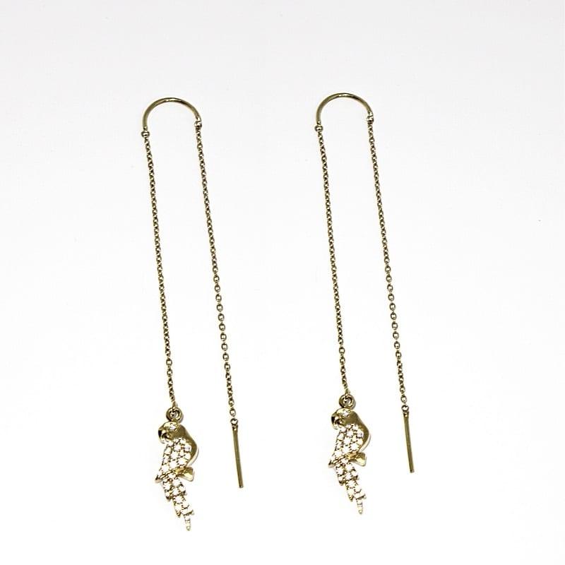 orecchini lunghi con pappagalli e pietre zirconi Thais Bernardes Gioielli