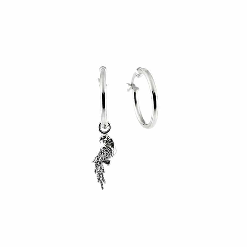 orecchini asimmetrici cerchio e pappagallo in argento 925
