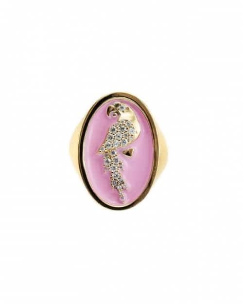 anello chevalier pappagallo smaltato rosa