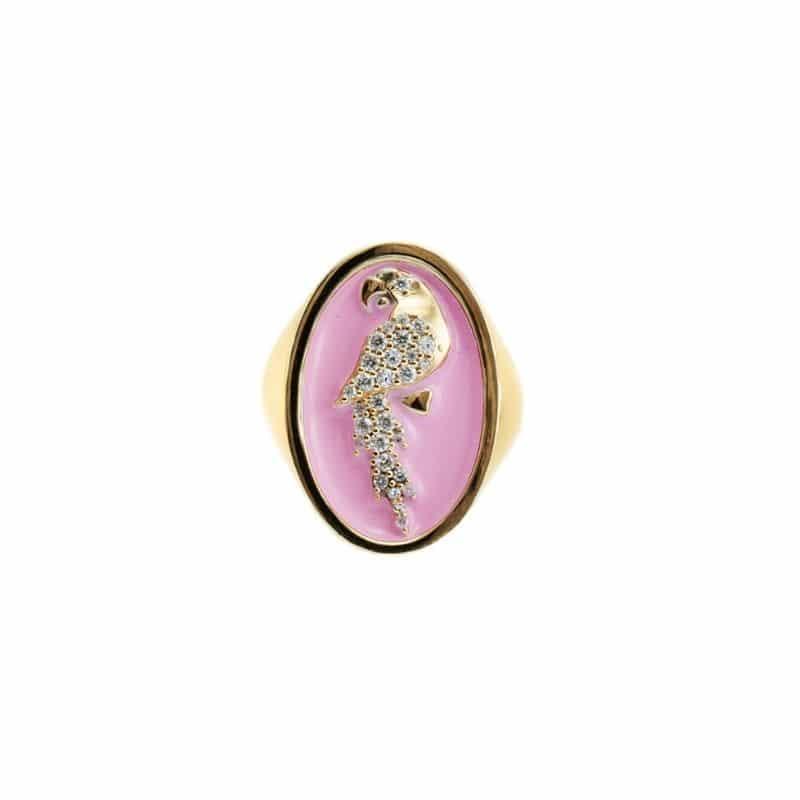 anello chevalier pappagallo smaltato rosa