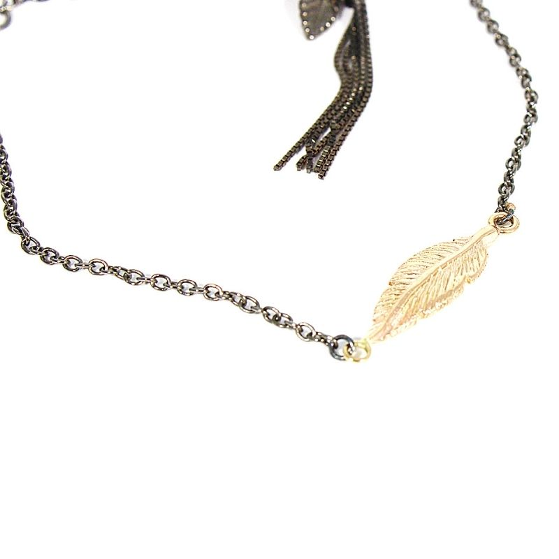 Bracciale liberty-21in argento 925 con piuma in oro