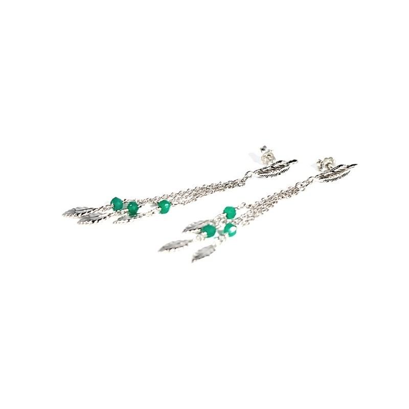 orecchini sogno di piume in argento 925 con pietre naturali Thais Bernardes Gioielli