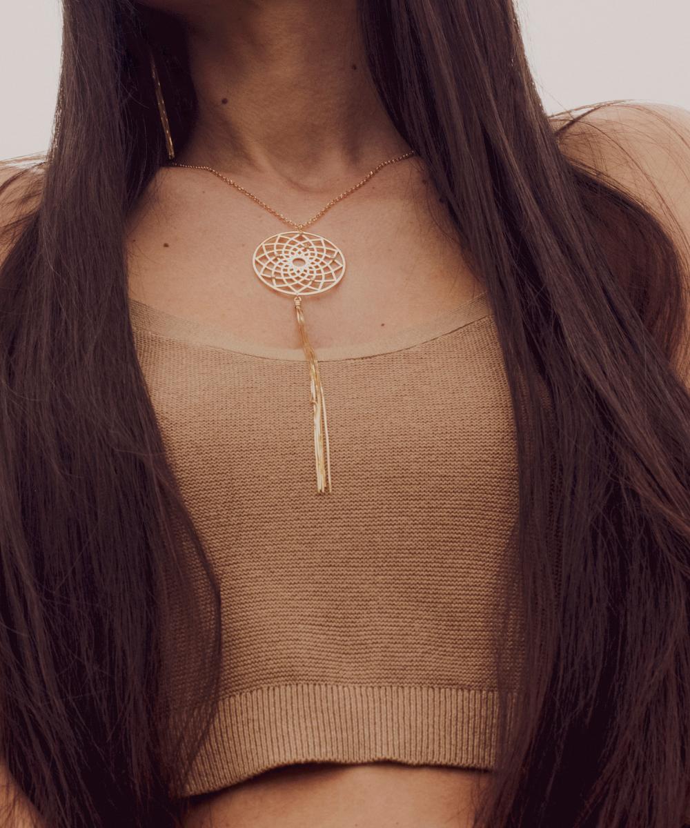 collana acchiappasogni argento 925 placcato oro Thais Bernardes Gioielli